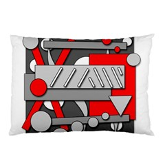 Gray and red geometrical design Pillow Case