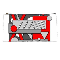 Gray and red geometrical design Pencil Cases