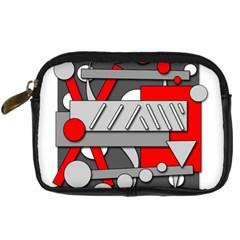 Gray and red geometrical design Digital Camera Cases