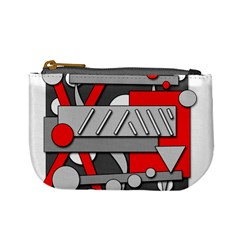 Gray and red geometrical design Mini Coin Purses