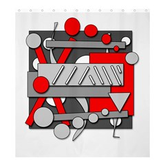 Gray and red geometrical design Shower Curtain 66  x 72  (Large)