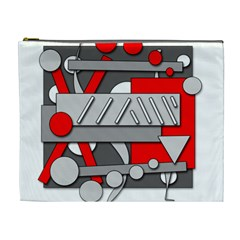 Gray and red geometrical design Cosmetic Bag (XL)