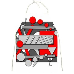 Gray and red geometrical design Full Print Aprons