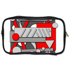 Gray and red geometrical design Toiletries Bags
