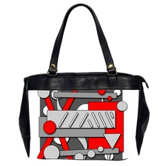 Gray and red geometrical design Office Handbags (2 Sides)