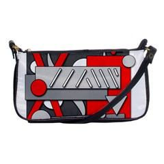 Gray and red geometrical design Shoulder Clutch Bags
