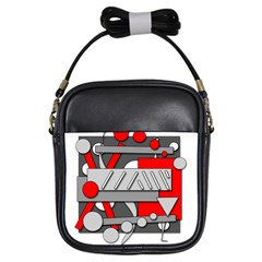 Gray and red geometrical design Girls Sling Bags