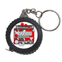 Gray and red geometrical design Measuring Tapes
