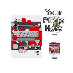 Gray and red geometrical design Playing Cards 54 (Mini)
