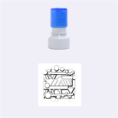 Gray and red geometrical design Rubber Round Stamps (Small)
