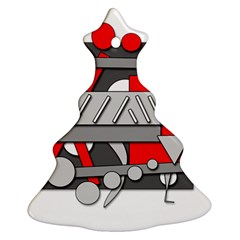 Gray and red geometrical design Ornament (Christmas Tree)