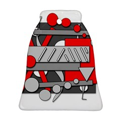 Gray and red geometrical design Bell Ornament (2 Sides)