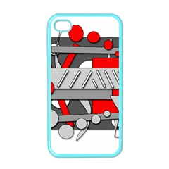 Gray and red geometrical design Apple iPhone 4 Case (Color)