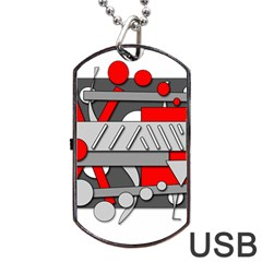 Gray and red geometrical design Dog Tag USB Flash (Two Sides)