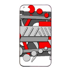 Gray and red geometrical design Apple iPhone 4/4s Seamless Case (Black)