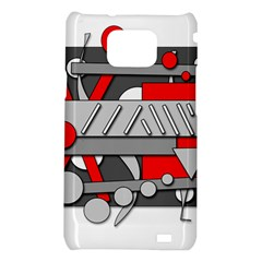 Gray and red geometrical design Samsung Galaxy S2 i9100 Hardshell Case