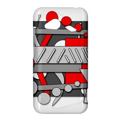 Gray and red geometrical design HTC Droid Incredible 4G LTE Hardshell Case