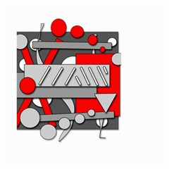 Gray and red geometrical design Large Garden Flag (Two Sides)