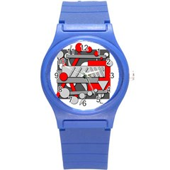 Gray and red geometrical design Round Plastic Sport Watch (S)
