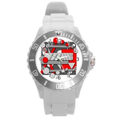 Gray and red geometrical design Round Plastic Sport Watch (L)