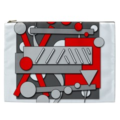 Gray and red geometrical design Cosmetic Bag (XXL)