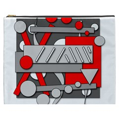 Gray and red geometrical design Cosmetic Bag (XXXL)