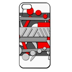 Gray and red geometrical design Apple iPhone 5 Seamless Case (Black)