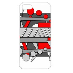 Gray and red geometrical design Apple iPhone 5 Seamless Case (White)