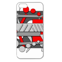 Gray and red geometrical design Apple Seamless iPhone 5 Case (Clear)