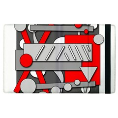 Gray and red geometrical design Apple iPad 2 Flip Case