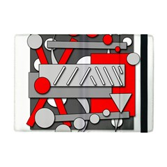 Gray and red geometrical design Apple iPad Mini Flip Case