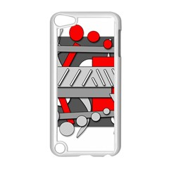 Gray and red geometrical design Apple iPod Touch 5 Case (White)