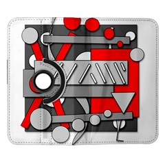 Gray and red geometrical design Samsung Galaxy Note II Flip 360 Case