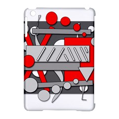 Gray and red geometrical design Apple iPad Mini Hardshell Case (Compatible with Smart Cover)
