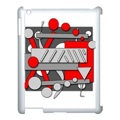 Gray and red geometrical design Apple iPad 3/4 Case (White)