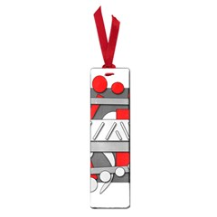 Gray and red geometrical design Small Book Marks