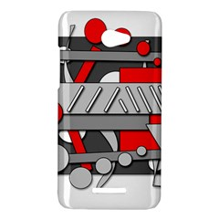 Gray and red geometrical design HTC Butterfly X920E Hardshell Case
