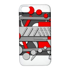 Gray and red geometrical design Apple iPhone 4/4S Hardshell Case with Stand