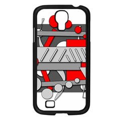 Gray and red geometrical design Samsung Galaxy S4 I9500/ I9505 Case (Black)