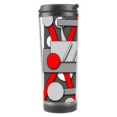 Gray and red geometrical design Travel Tumbler
