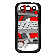 Gray and red geometrical design Samsung Galaxy S3 Back Case (Black)