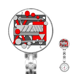 Gray and red geometrical design Stainless Steel Nurses Watch