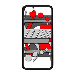 Gray and red geometrical design Apple iPhone 5C Seamless Case (Black)
