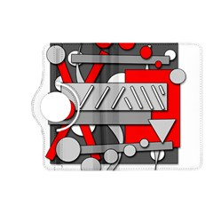 Gray and red geometrical design Kindle Fire HD (2013) Flip 360 Case