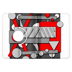 Gray and red geometrical design Kindle Fire HDX Flip 360 Case