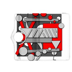 Gray and red geometrical design Kindle Fire HDX 8.9  Flip 360 Case