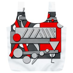 Gray and red geometrical design Full Print Recycle Bags (L)