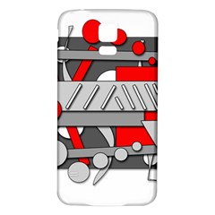 Gray and red geometrical design Samsung Galaxy S5 Back Case (White)