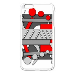 Gray and red geometrical design Apple iPhone 6 Plus/6S Plus Enamel White Case
