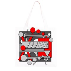 Gray and red geometrical design Grocery Light Tote Bag